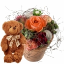 Flower Kiss with teddy bear (brown)