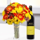 Round mixed bouquet and wine