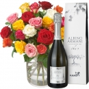 Colorful Bouquet of Roses (24 roses) with Prosecco Albino Armani DOC (75cl)