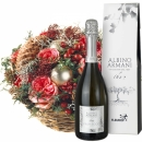 Christmas Basket with Roses with Prosecco Albino Armani DOC (75cl)