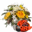 Festive glory Bouquet with Chocolate Ladybird