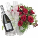 Bouquet I Love You, with Prosecco Albino Armani DOC (75 cl), incl. ice bucket and two sparkling wine