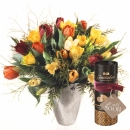 Colorful Bouquet of Tulips with Gottlieber cocoa almonds and hanging gift tag «Get Well Soon»