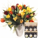 Colorful Bouquet of Tulips with honey gift set