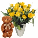 Bouquet of Tulips in Yellow with teddy bear (brown)