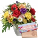 "Cheerful Spring Bouquet with bar of chocolate ""Happy Birthday"""