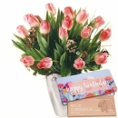 "Tulips in Tender Pink Shades with bar of chocolate ""Happy Birthday"""