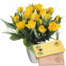 "Bouquet of Tulips in Yellow with bar of chocolate ""Hello Sunshine"""