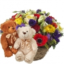 Colorful Surprise with two teddy bears (white & brown)