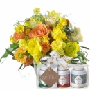 Hurray, Spring is Here with Gottlieber tea gift set and hanging gift tag «Happy Birthday»