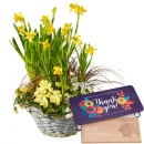 "Sunny Spring Garden (planted) with bar of chocolate ""Thank you"""
