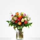 Bouquet: Colourful roses; excl. vase