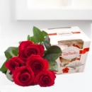Bouquet of five red roses and Rafaello box