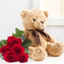 Seven red roses and a teddy bear