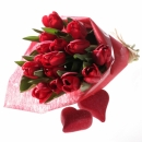 Special bouquet of red tulips