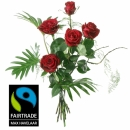5 Red Fairtrade Max Havelaar-Roses Medium Stem with Green