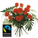12 Red Fairtrade Max Havelaar-Roses Medium Stem with Green