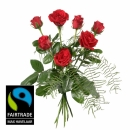 7 Red Fairtrade Max Havelaar-Roses Shortstemmed with Green