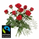 9 Red Fairtrade Max Havelaar-Roses Shortstemmed with Green
