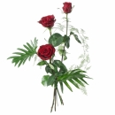 3 Red Roses with Green