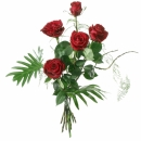 5 Red Roses with Green