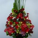 Arrangement of Cut Flowers in reds
